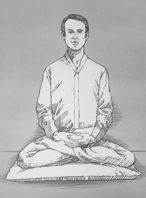 Illustration of man meditating in half lotus