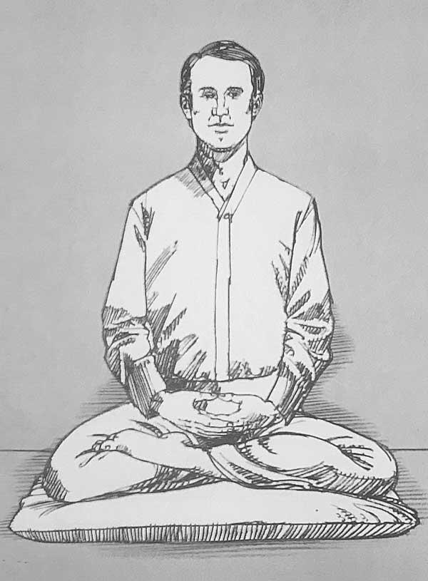 Illustration of man meditating in quarter lotus