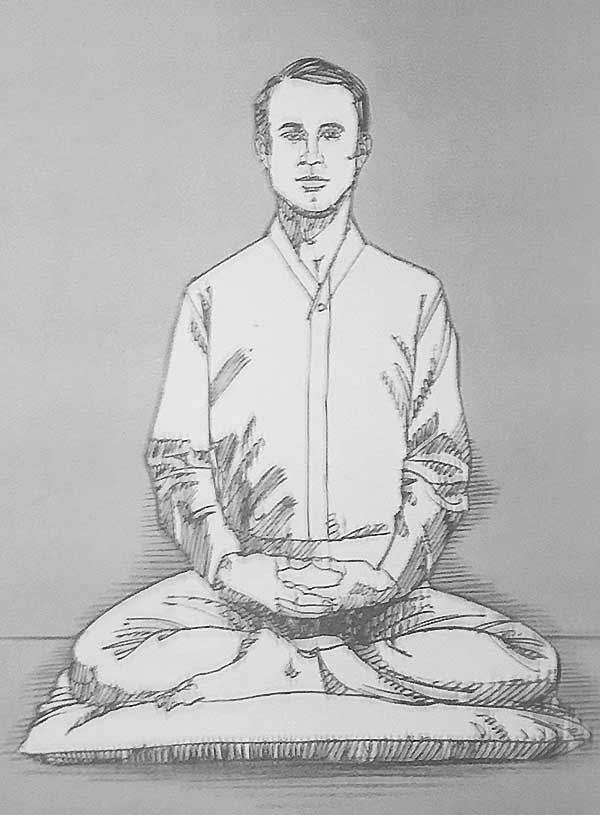 Illustration of man meditating in Burmese posture