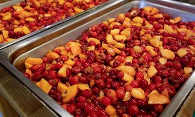 Photo of big pans of fruit