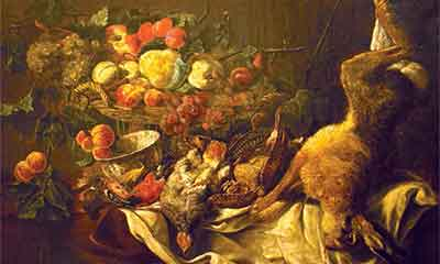 Jan Fijt painting of still life with dead rabbit and hen